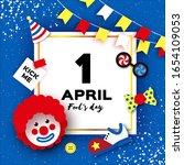1 April Fools Day. Funny Clown  ...
