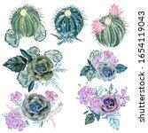 set of vector succulent plants  ... | Shutterstock .eps vector #1654119043