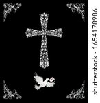 black catholic ornate card with ... | Shutterstock .eps vector #1654178986