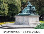 Historical bronze statue of Queen Elisabeth (Sissi) Habsburg empress and Hungarian queen in the old town of Budapest, Hungary Eastern Europe.
