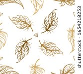 vintage boho style feathers... | Shutterstock .eps vector #1654218253
