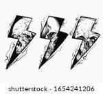 lightning skull black and white ... | Shutterstock .eps vector #1654241206