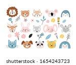 set of cute portraits of... | Shutterstock .eps vector #1654243723
