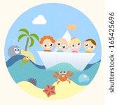 kids on a boat  | Shutterstock .eps vector #165425696