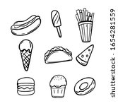 fast food doodle hand drawn set ... | Shutterstock .eps vector #1654281559