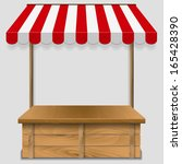 store  kiosk  with striped... | Shutterstock .eps vector #165428390