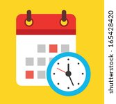vector calendar and clock icon | Shutterstock .eps vector #165428420