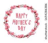 wreath of sakura flowers....   Shutterstock .eps vector #1654286386