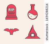 set witch hat   tombstone with...   Shutterstock .eps vector #1654288216