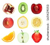 collection of fresh fruit... | Shutterstock . vector #165429053