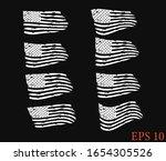 vintage waving usa flag set.... | Shutterstock .eps vector #1654305526