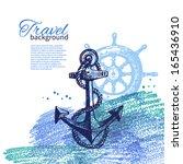 travel vintage background. sea... | Shutterstock .eps vector #165436910