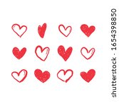 hand drawn hearts. love heart... | Shutterstock .eps vector #1654398850