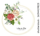 bouquet with roses in vintage... | Shutterstock .eps vector #1654419823