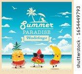 summer beach vector background... | Shutterstock .eps vector #1654449793