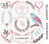 vector set of valentine's day... | Shutterstock .eps vector #165445730