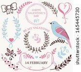 vector set of valentine's day... | Shutterstock .eps vector #165445730