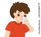 sick cute boy with a cold and... | Shutterstock .eps vector #1654508473
