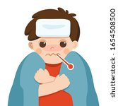 sick cute boy with fever... | Shutterstock .eps vector #1654508500