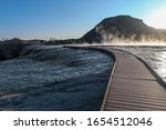 Landscape of wooden path through hot springs at Hot Springs State park in Thermopolis, Wyoming
