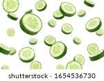 Falling Cucumber Slice Isolated ...