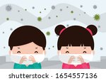 kids in masks because of fine...   Shutterstock .eps vector #1654557136