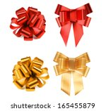 big red and yellow bows.... | Shutterstock . vector #165455879