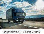 Blue Semi Trailer Truck On A...