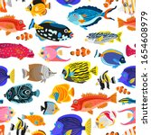 A seamless pattern with exotic tropical fishes. Cartoon underwater animals background. Colorful childish vector illustration. Wrapping, notebooks, labels, accessories-school. - stock vector