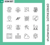 pack of 16 line style icon set. ... | Shutterstock .eps vector #1654618660