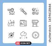 9 line black icon pack outline... | Shutterstock .eps vector #1654618666