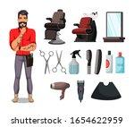 barbershop set. bearded barber... | Shutterstock .eps vector #1654622959