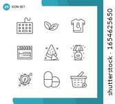vector pack of 9 outline... | Shutterstock .eps vector #1654625650