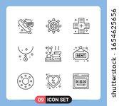 9 line black icon pack outline... | Shutterstock .eps vector #1654625656