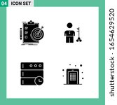 pack of 4 solid style icon set. ... | Shutterstock .eps vector #1654629520
