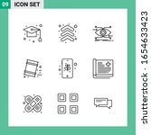 pack of 9 line style icon set.... | Shutterstock .eps vector #1654633423