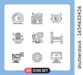 9 line black icon pack outline... | Shutterstock .eps vector #1654633426