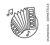 accordion in circle icon....
