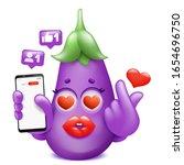 eggplant emoji cartoon... | Shutterstock .eps vector #1654696750