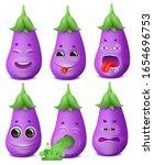 eggplant emoji cartoon... | Shutterstock .eps vector #1654696753