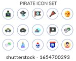 pirate icon set. 15 flat pirate ...   Shutterstock .eps vector #1654700293