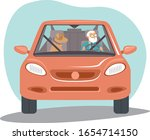 old senior man driving car her...   Shutterstock .eps vector #1654714150
