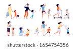 mom and children. family time ... | Shutterstock .eps vector #1654754356