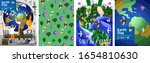 earth day  set of posters with...   Shutterstock .eps vector #1654810630