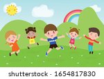 happy children jumping and... | Shutterstock .eps vector #1654817830
