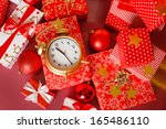 christmas  big red gift box... | Shutterstock . vector #165486110