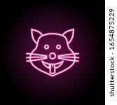 cat shows the tongue neon icon. ...