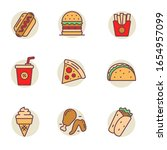 set of fast food icons in... | Shutterstock .eps vector #1654957099