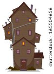 high wood house  illustration... | Shutterstock .eps vector #165504656