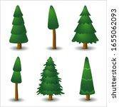 set of vector green coniferous...